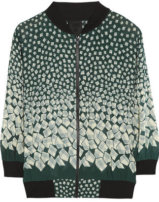 Anna Sui Letters printed georgette bomber jacket