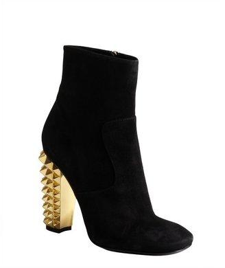 Fendi black suede studded heel side zip ankle boots