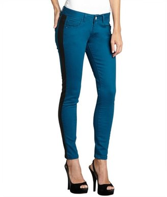 Romeo & Juliet Couture pacific blue colorblock stretch denim and faux leather cropped skinny jeans