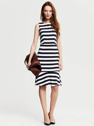 Banana Republic Navy Stripe Ponte Flounce Dress