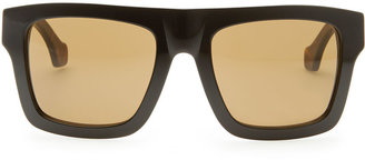 Balenciaga Square Straight-Brow Acetate Sunglasses, Black/Brown Havana