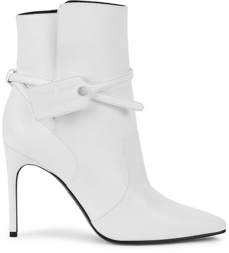 Off-White Zip Tie 100 White Leather Ankle Boots