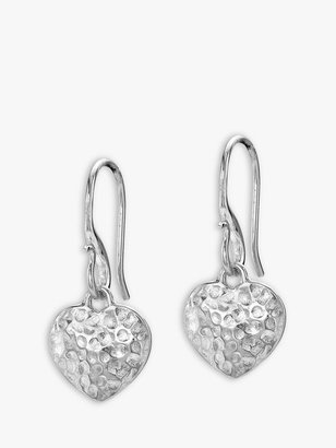 Dower & Hall Hammered Heart Drop Earrings, Silver
