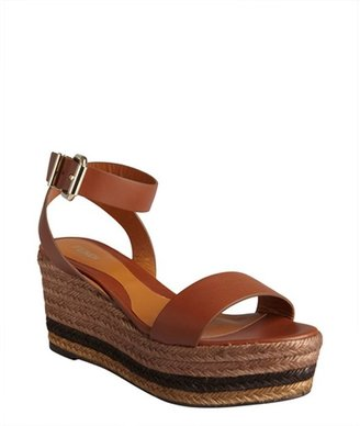 Fendi brown leather and jute espadrille sandals