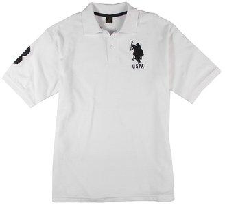 U.S. Polo Assn. Kids - Short Sleeve Polo (Big Kids) (White/Navy) - Apparel
