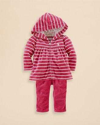 Ralph Lauren Infant Girls' Stripe Velour Hoodie & Pants Set - Sizes 3-9 Months
