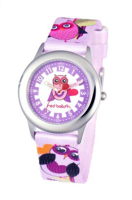 """Red Balloon Kids' W000332 """"Love Owl Time Teacher"""" Stainless Steel Watch with Multi-Colored Nylon Band"""