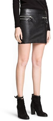 MANGO Outlet Leather Biker Miniskirt