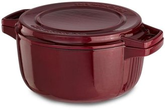 KitchenAid 6-qt. Porcelain Enamel Professional Cast Iron Dutch Oven and Grill Pan, Royal Red