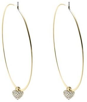 Michael Kors Whisper Hoop Earrings with Crystallized Heart Charms