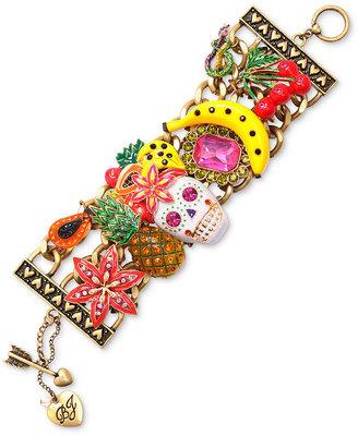 Betsey Johnson Bracelet, Skull Multi Charm Wide Toggle Bracelet