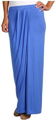 Three Dots Draped Pleated Skirt (City Blue) - Apparel