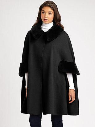 Adrienne Landau Wool & Cashmere Rabbit Fur-Trimmed Cape Coat