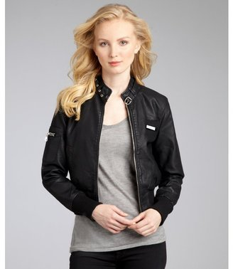 Members Only black faux leather classic bomber jacket