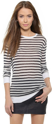 T by Alexander Wang Striped Rayon Linen Tee $140 thestylecure.com