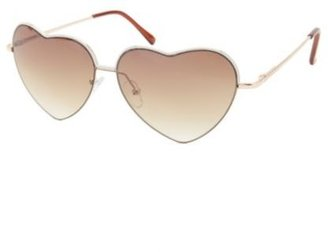 Charlotte Russe Painted Metal Heart-Shaped Sunglasses
