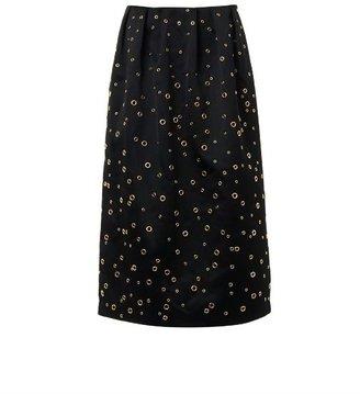 ADAM by Adam Lippes Eyelet-detail satin midi-skirt