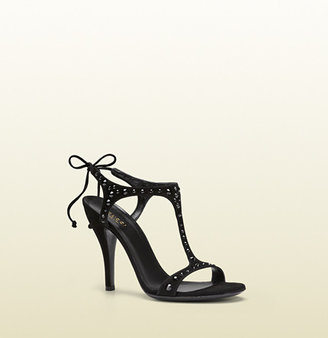 Gucci Yulia Black Suede With Crystal Studs T-Strap High-Heel Sandal