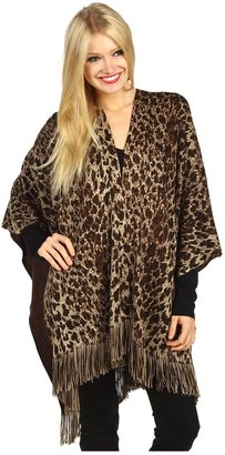 Echo Leopard Ruana (Dark Brown) - Apparel