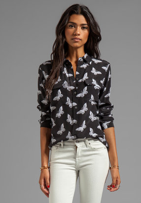 Equipment Magnetic Butterfly Printed Slim Signature Blouse