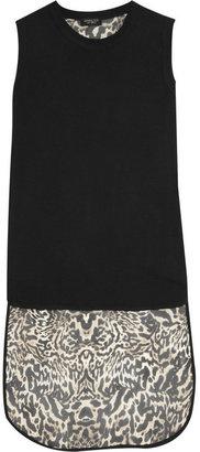 Giambattista Valli Jersey and leopard-print silk-chiffon top
