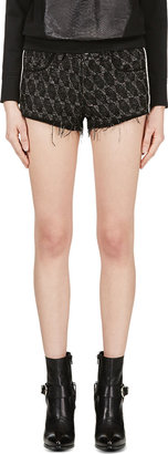 Iro Black Suede-Trimmed Red Seth Shorts $325 thestylecure.com