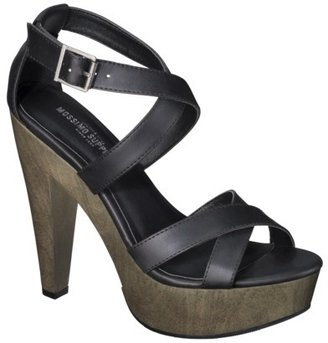 Mossimo Women's Wandy Wood Heeled Strappy Sandal - Black
