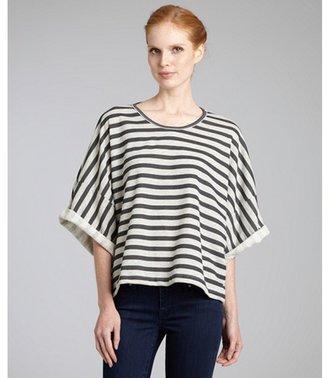 Wyatt charcoal striped cotton blend boxy sweatshirt top