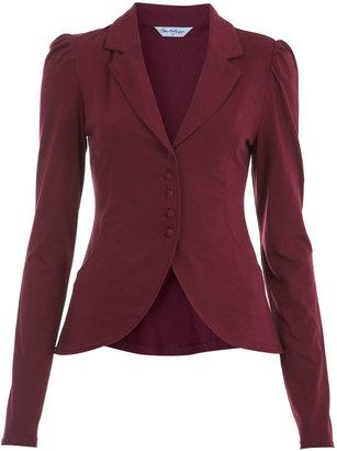 Miss Selfridge Burgundy jersey puff blazer