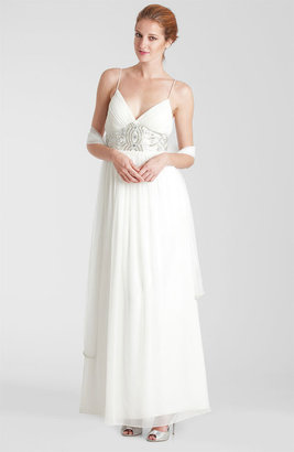 JS Collections Embellished Waist Chiffon Gown