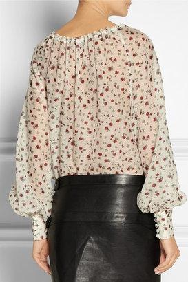Saint Laurent Rose-print wool and silk-blend voile blouse