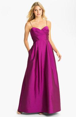 Eliza J Spaghetti Strap Faille A-Line Gown
