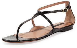 Rachel Zoe Gwen Snakeskin Thong Sandal, Black