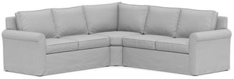 Pottery Barn Cameron Roll Arm Slipcovered 3-Piece L-Sectional with Wedge