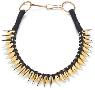 A.L.C. Braided Thread Necklace With Two-Tone Spikes