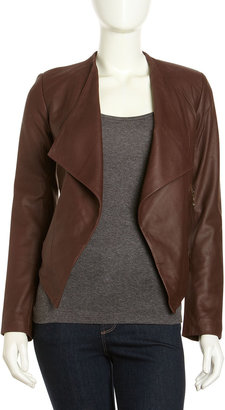 Neiman Marcus Cascading Leather Jacket, Brown