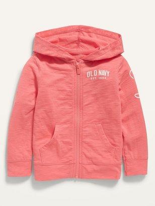Old Navy Lightweight Slub-Knit Logo Zip Hoodie for Toddler Girls