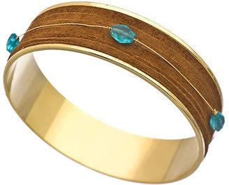 Nugaard Designs Gold Leather and Gemstone Bangle Bracelet