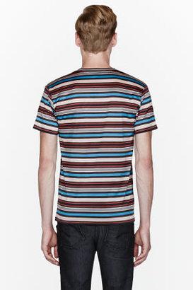 Marc by Marc Jacobs Blue multicolor striped Donovan t-shirt