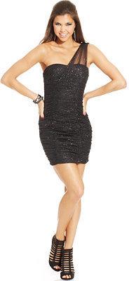 Amy Byer Juniors' Glittered One-Shoulder Dress