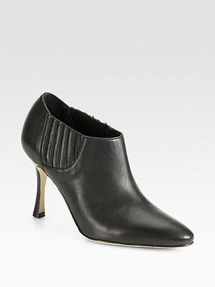 Manolo Blahnik Livrea Leather Ankle Boots