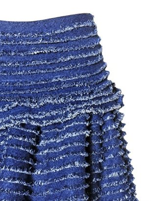 Maurizio Pecoraro Ruffled Light Cotton Denim Skirt