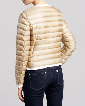Moncler Ruffle-Trim Puffer Jacket, Ivory