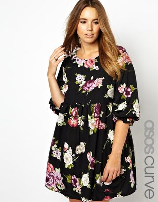 Asos Smock Dress In Winter Floral