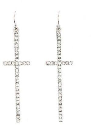 Charlotte Russe Dangling Bling Cross Earrings