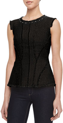 Rebecca Taylor Tweed Studded-Neck Peplum Top, Black