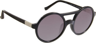 The Row Leather-Wrapped Round Frame Sunglasses