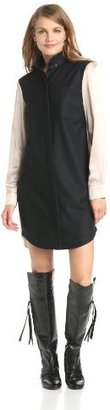 Derek Lam 10 Crosby Women's Flannel Shirt Dress with Charmeuse Back