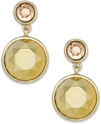 Charter Club Gold-Tone Round Crystal Double-Drop Earrings