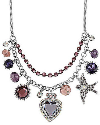 Betsey Johnson Betsey Iconic Iconic Amethyst Crystal Heart Multi Charm Frontal Necklace